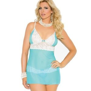 Elegant moments blue lace babydoll and thong